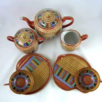 Thousand Faces Tea Set with Snack Plates and Cups Japanese 1000 Faces