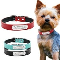 Small Dog or Cat Leather Personalized ID Collar