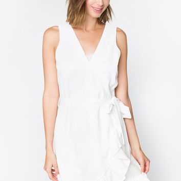 Bella White Ruffle Dress