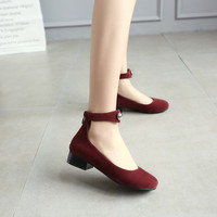 Velvet Ankle Straps Low Chunky Heels Women Pumps 6636