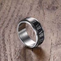 Rings with Roman Numerals Surgical Steel Rotatable Men's