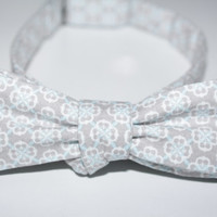Men's Grey White and Blue Medallion Lined Bow Tie
