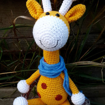 Crochet giraffe, amigurumi toy, yellow giraffe, cute crochet amigurumi plush