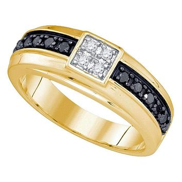 10kt Yellow Gold Men's Round Black Color Enhanced Diamond Cluster Wedding Band Ring 3/8 Cttw - FREE Shipping (US/CAN)