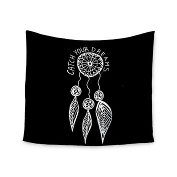 "Vasare Nar ""Catch Your Dreams Black"" White Typography Wall Tapestry"