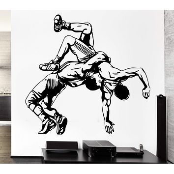 Wall Decal Sport Athletes Sparring Fight Shooting Wrestling Vinyl Decal Unique Gift (ed360)