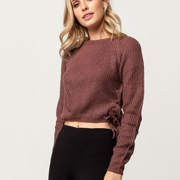 WHITE FAWN Grommet Lace Up Womens Sweater