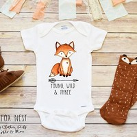 Baby Boy Shirt, Boho Baby Clothes, Young Wild and Free
