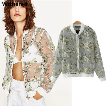 Withered Urban bomber jacket women 2017 The flower prints the flying jacket Organza perspective Zipper UV-protection wear women