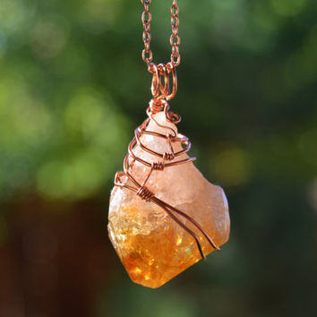 Citrine necklace, crystal pendant, wire wrapped, statement necklace, copper jewelry, boho necklace, natural jewelry, rock necklace,gift idea