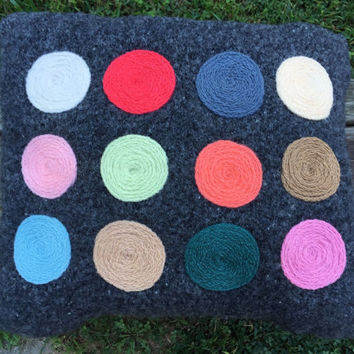 Big Wool Decorative Sweater Pillow with Needle Felted Circles