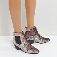 Qupid Low Heel Velvet Western Boot at asos.com