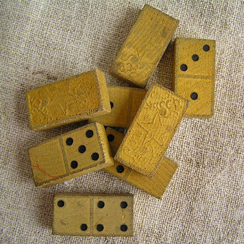Set of 8 vintage wooden Dominoes -1940s wood wooden Vintage supplies Toy Eco friendly Organic game collectibles MyWealth