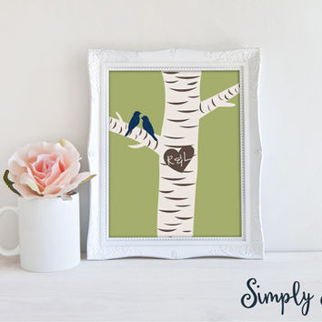 Custom Wedding Art Print - Personalized Wedding Art - Birch Tree Art - Personalized Wedding Gift - gift ideas for couples