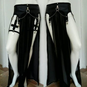 faux leather gothic style vegan leather garter harness skirt muslin long skirt whit garter clasps