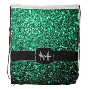 Beautiful Emerald Green sparkles Monogram Backpacks