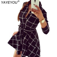 YAYEYOU Women Plaid Dresses Long Sleeve Dress With Belt Work Office Business Casual Vintage Woman Dress Vestidos
