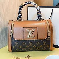 LV Fashion New Monogram Print Leather Shoulder Bag Handbag Crossbody Bag Brown