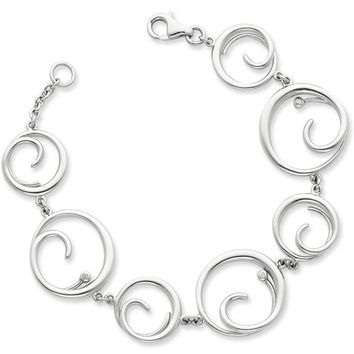 White Ice Sterling Silver Genuine Diamond Modish Circle Bracelet
