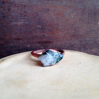 Green Moss Agate Ring - Green Statement Ring - Unique Ring - Raw Stone Ring - Copper Ring - Semiprecious Stone Ring - SIZE 8