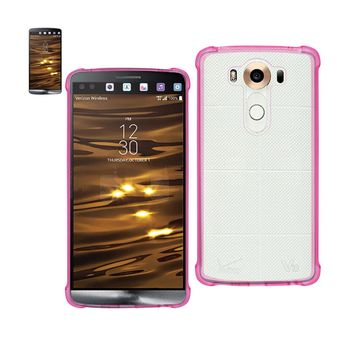 LG V10 Clear Bumper Case With Air Cushion Protection (Clear Hot Pink)