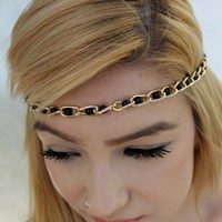 Black Chain Link Beaded Accent Elastic Head Band