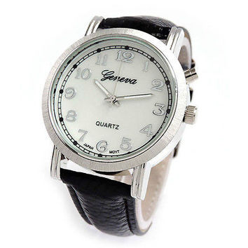 Night Light Easy to Read Geneva Black Leather-Like Strap Watch