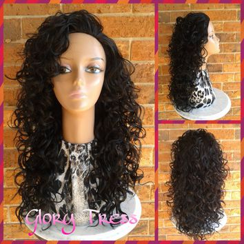 ON SALE // Long & Curly Half Wig, Curly Wig With Layers, Curly Black Wig, Loose Curly Hairstyle // INSPIRATION