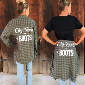 """City Roots in Boots"" Green Unisex Flannel"