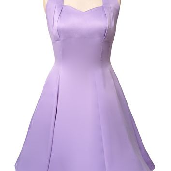 Hell Bunny Classic Marilyn Lavender Satin Halter Flare Party Dress