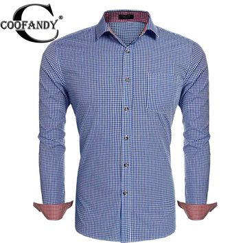 COOFANDY Men's Plaid Long-Sleeve Slim Fit Casual Button Down Shirt