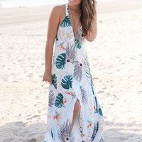 Ivory Tropical Racerback Maxi Dress