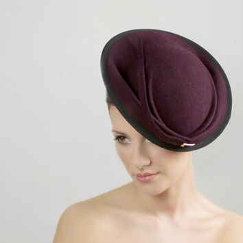 Saucer Hat, Occasion Felt Hat for Women, Races Hat or Occasion Hatinator, Ascot Hat, Melbourne Cup, Kentucky Derby - Freya