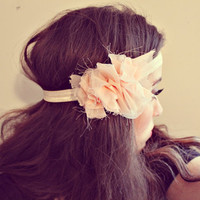 ruffled elastic headband. shimmer. rose gold. one size fits all.