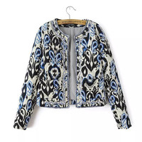 Embroidery Totem Print Round-neck Cotton Jacket [5013029188]