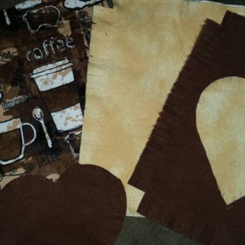 Coffee lovers Flannel rag quilt kit Espresso Latte Mocha fringed die cut fabric squares batting ready to sew quilting gift reversible