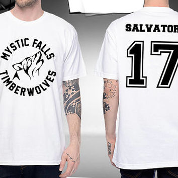 The Vampire Diaries Timberwolves Mystic Falls Shirt Salvatore 17 Unisex Tshirt