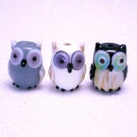 Glass Owl Beads - 3 pieces