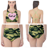 Fuck off high waisted bathing suit