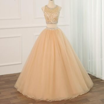 Champagne Two Piece Dress O-neck Sparkling Beaded Crystals Tulle Sweet Dresses Zipper-up Back