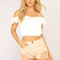 Touch Of Delicate Eyelit Top - White