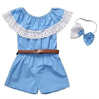 Family Matching Outfits Women Baby Girls Off Shoulder Lace Collar Jumpsuit Romper Belt