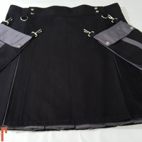 Black & Gray Hybrid Detachable Pockets Kilt Custom Made