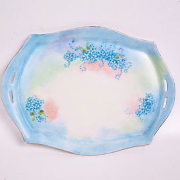 Antique CT Altwasser Silesia Vanity Dresser Tray Trinket Dish Pin Dish Hand Painted Floral Design Germany