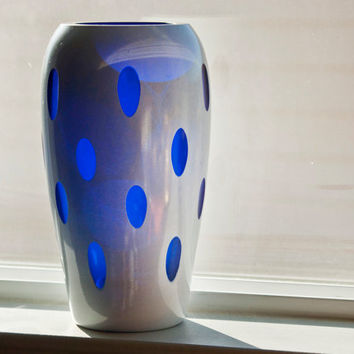 Unique Cobalt Glass Polka Dot Vase, Platonite White Fired On Paint, Quirky Modern