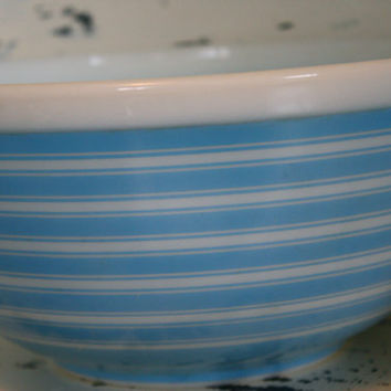 Pyrex Striped Blue Bowl  Glass Bowl Pastel by VintageShoppingSpree