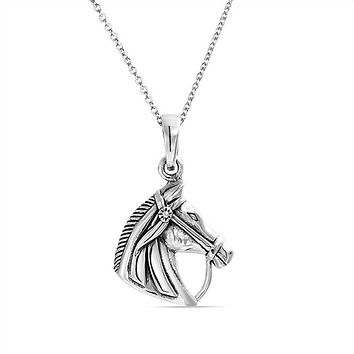 Horse Head Equestrian Thoroughbred Pendant Necklace Sterling Silver