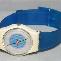 Vintage Ladies Spring Summer 1985 Swatch Swiss Swatch Ice Mint LW105D Watch