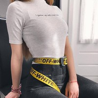OFF Belt WHITE Women Men White+Black Word Belt