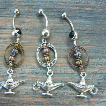 genie in a bottle belly ring aladdin's lamp Brass by gildedingypsy